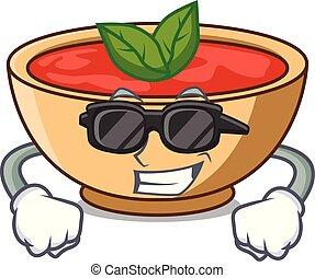 tomate, caractère, soupe, super, dessin animé, frais