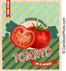 tomate, cartel, retro