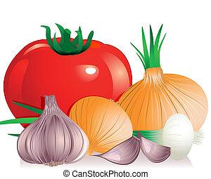 tomate, cebola alho