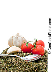 tomate, cereja, alho, vermelho, orégano
