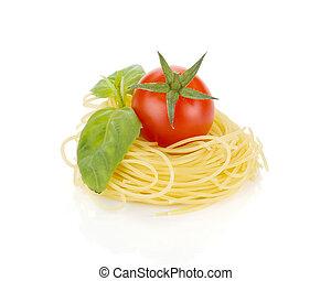 tomate cereja, manjericão, e, macarronada