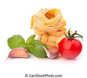 tomate, cereza, pastas, fettuccine, nido, italiano