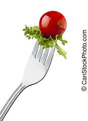 tomate, cerise, fourchette, endive, bouclé
