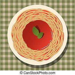 tomate, checkered, molho, folhas, tablecloth., manjericão, espaguete
