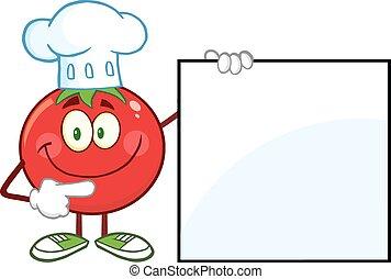 tomate, chef, señalar con el dedo hacerlo/serlo, un, blanco