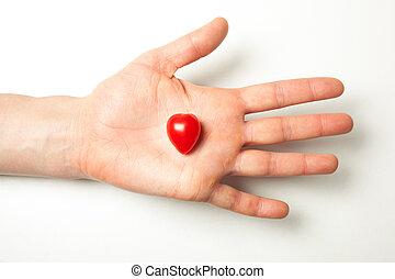 tomate, coeur, possession main, formé