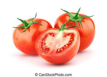 tomate, com, folha verde
