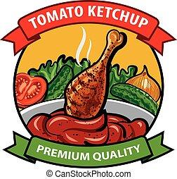 tomate, conception, ketchup, étiquette