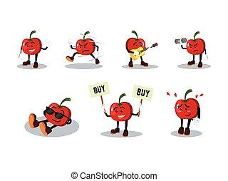 tomate, conjunto, caricatura, hombre