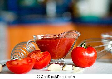 tomate, conmovedor, salsa, preparando