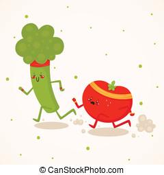 tomate, contra, bróculi