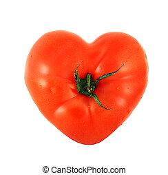 tomate, corazón, como, formado
