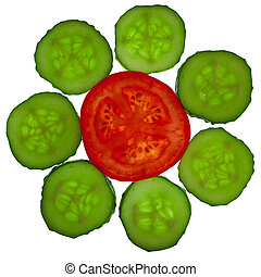 tomate, cortar, flor, pepino
