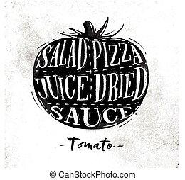 tomate, corte, esquema