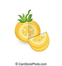 tomate, couleur, disséquer, jaune, icône