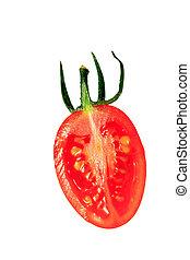 tomate, coupé deux, fond blanc