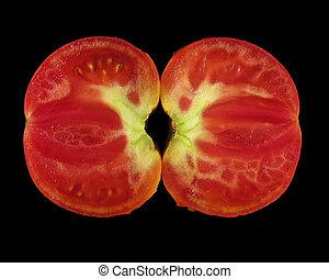 tomate, coupé deux