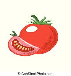 tomate, couper, mûre, entier, composition, rouges