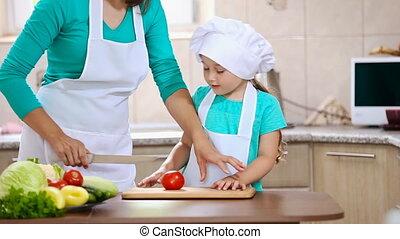 tomate, coupure, fille, elle, mère