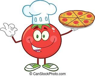 tomate, cozinheiro, segurando pizza