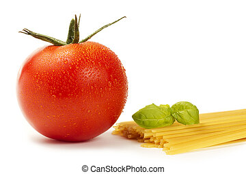 tomate, crudo, plano de fondo, mojado, albahaca, blanco, espaguetis