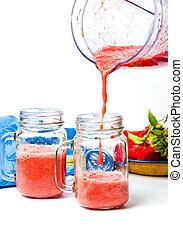 tomate, despejar, liquidificador, jarro, suco