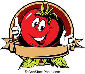 tomate, dessin animé, rond, étiquette