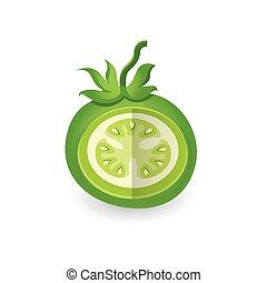 tomate, disséquer, 3d, vert, icône