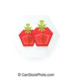 tomate, disséquer, plat papier, origami, icône, 3d