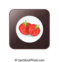 tomate, disséquer, vecteur, bouton, icône