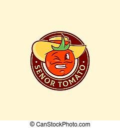 tomate, divertido, o, guiñar, alimento, resumen, hat., tipografía, emblem., símbolo, señal, vector, senor, retro, español, vegetal, logotipo, cara sonriente, template., hombre