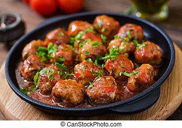 tomate, doux, aigre, boulettes viande, sauce