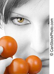 tomate, e, a, olho