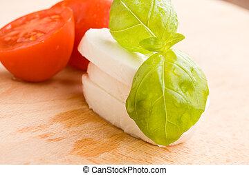 tomate, e, mozzarella, ligado, tábua cortante