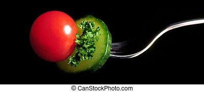 tomate, en, tenedor