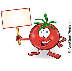 tomate, enseigne, isolé, fond, amusement, blanc, dessin animé