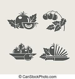 tomate, ensemble, icônes