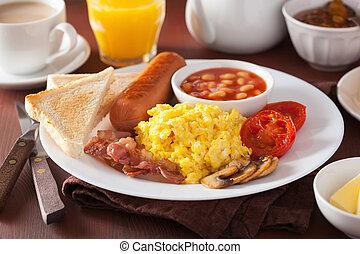 tomate, entiers, saucisse, lard, œufs brouillés, anglaise, haricots, petit déjeuner