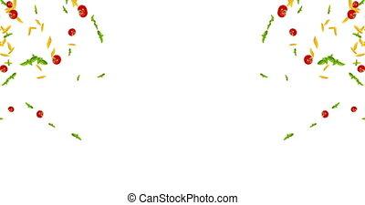 tomate, espace, animation, seamless, texte, bas, pâtes, fond, basilic, tomber, blanc, boucle, italien