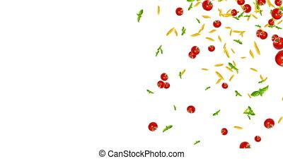 tomate, espace, seamless, texte, pâtes, bas, fond, basilic, blanc, tomber, boucle, italien