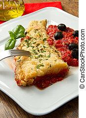 tomate, fait, cuit, huile,  loins, morue, maison,  sauce