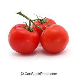 tomate, fond, blanc