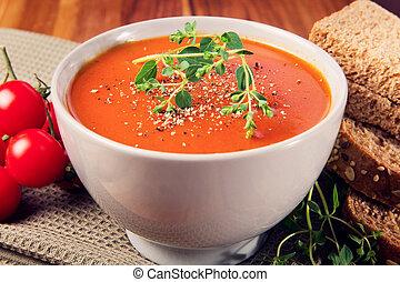 tomate, frais, soupe, pain