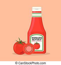 tomate, fresco, garrafa ketchup, tomates