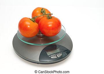 tomate, fresco, peso escala