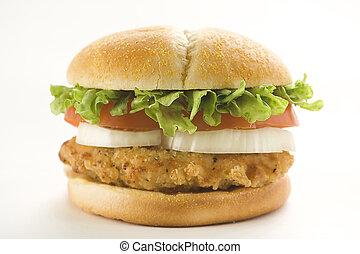 tomate, fromage, croquant, oignon, salade verte, hamburger, poulet