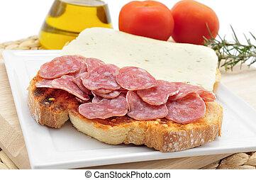 tomate, fuet, sausag, amb, tomaquet, papá, bread, típico...
