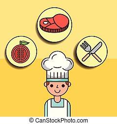 tomate, garçon, viande, chef cuistot, fourchette, dessin animé, couteau