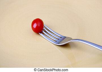 tomate, garfo, único