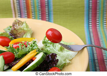 tomate, garfo